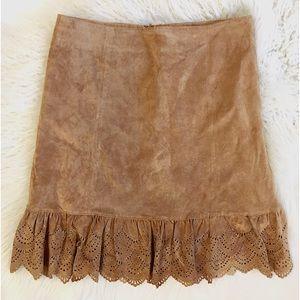Anthro Elevenses Suede Eyelet Ruffle Hem Skirt Tan